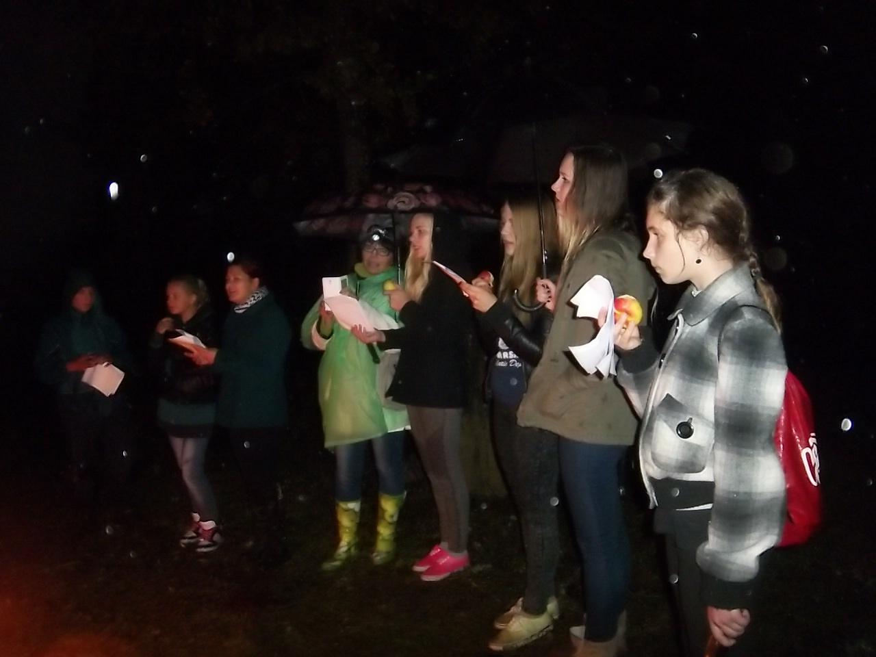 Jaunjelgavas vidusskolas skolēni Sērenes pilskalnā Baltu vienības dienas vakarā